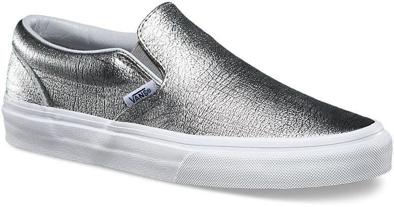 dámské boty vans CLASSIC SLIP-ON (Foil Metallic) Silver True White 7aaedad700