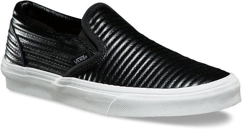 4c2de50a798 dámské boty vans CLASSIC SLIP-ON (MOTO LEATHER) Black Blanc De Blanc