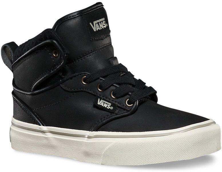 3a3e901e14 dětské boty vans ATWOOD HI (LEATHER) Black Aluminum