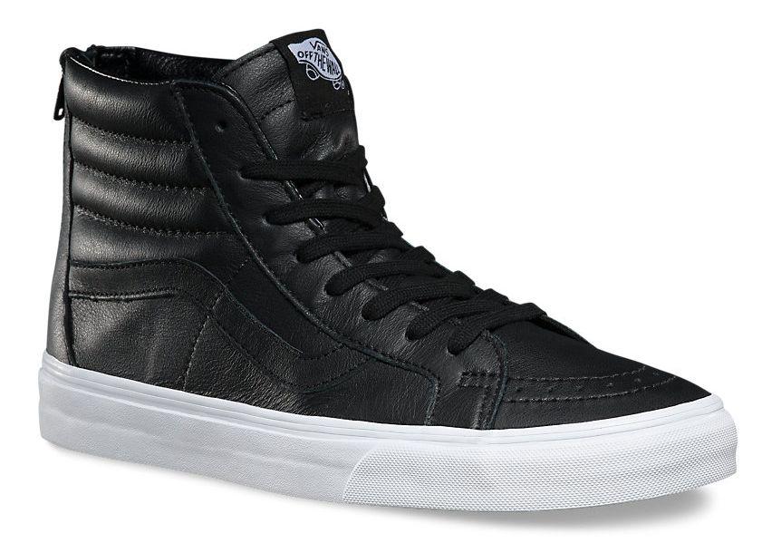 pánské kotníkové boty VANS SK8-HI REISSUE ZIP (Premium Leather) Black/True White
