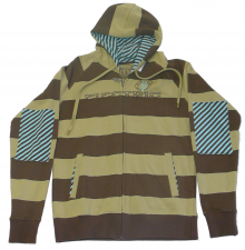 Electric zip hood brown beige stripe